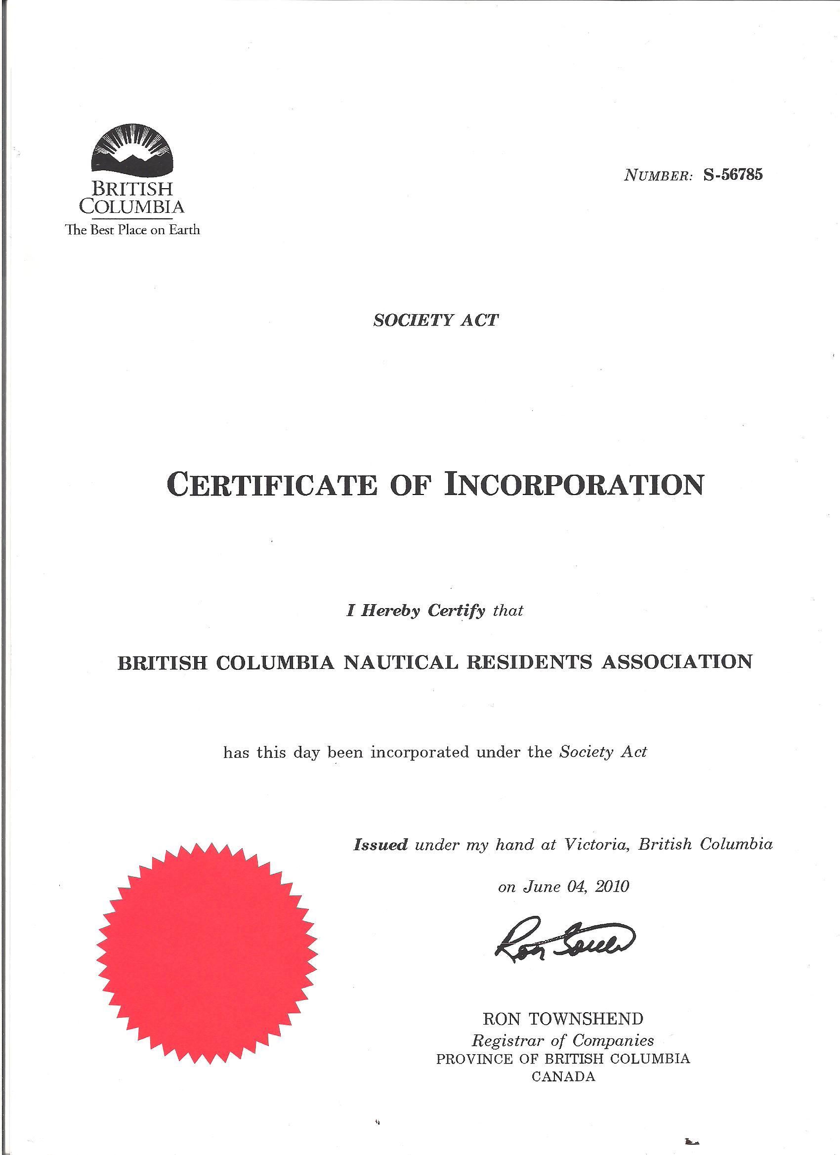 BCNR Incorporation Certificate